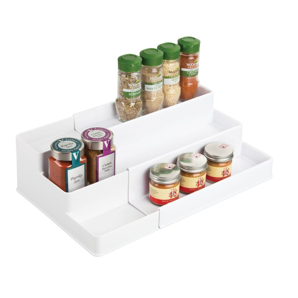mDesign Plastic Adjustable, Expandable Kitchen Cabinet, Pantry, Shelf Organizer/Spice Rack with 3 Tiered Levels of Storage for Spice Bottles, Jars, Seasonings, Baking Supplies 3 TIERS: The compact, tiered design provides plenty of storage space; Use it to