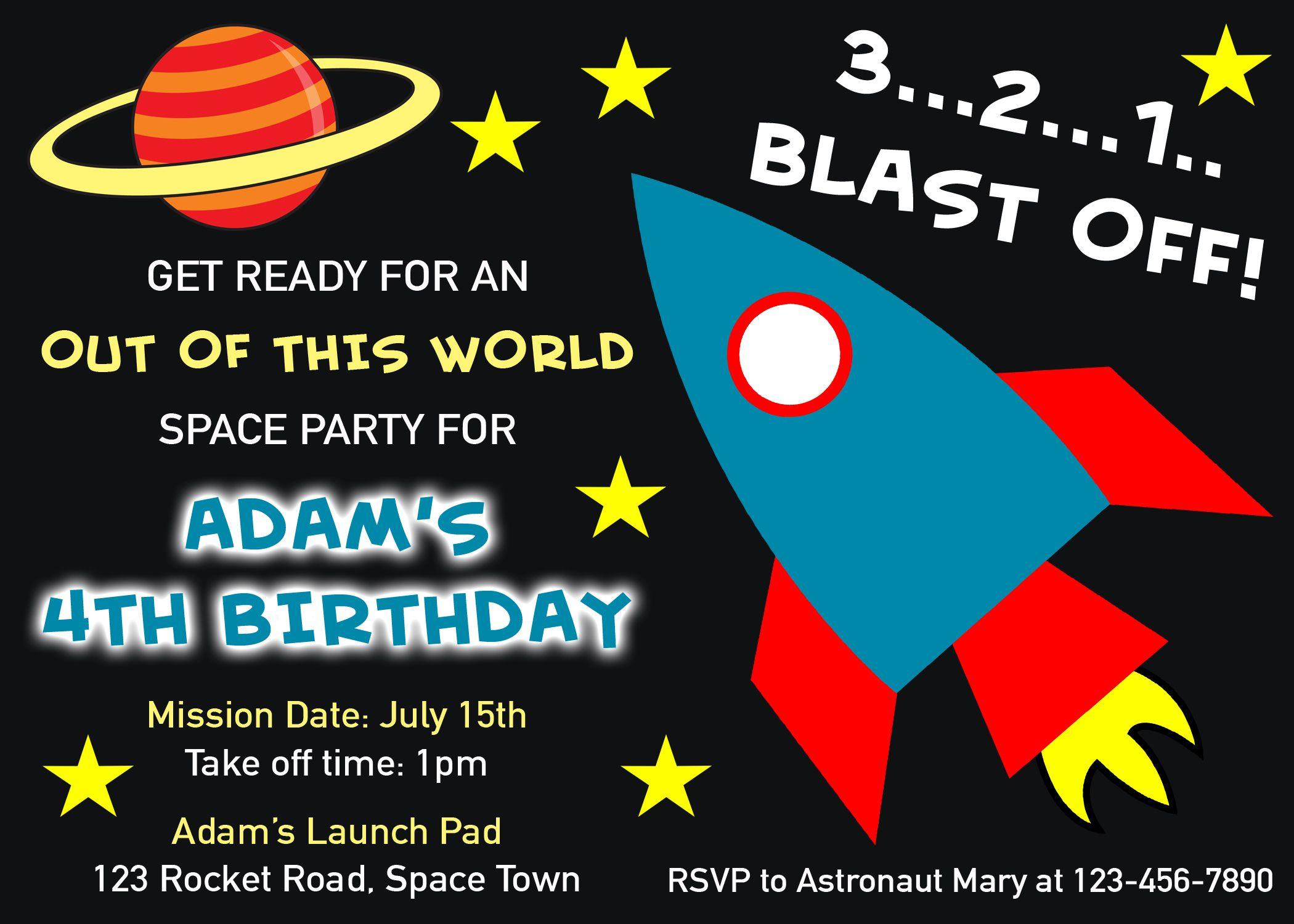 Space Invitation, Space Birthday Invitation, Rocket Invitation ...