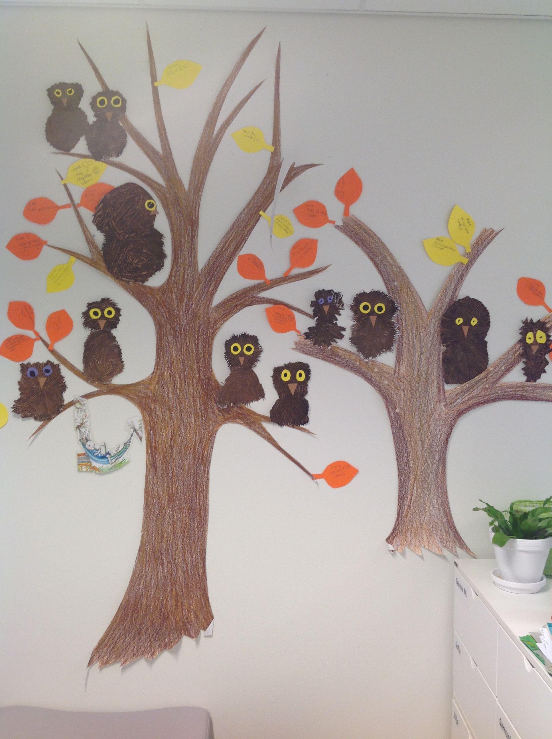 Syksyinen puu ja pöllöt haarukkamaalauksella 2.lk