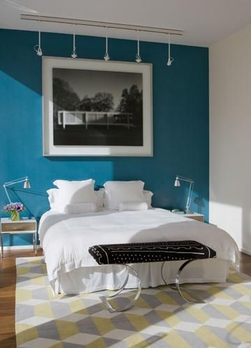 Love This Wall Color Blue Accent Walls Accent Wall Bedroom Home