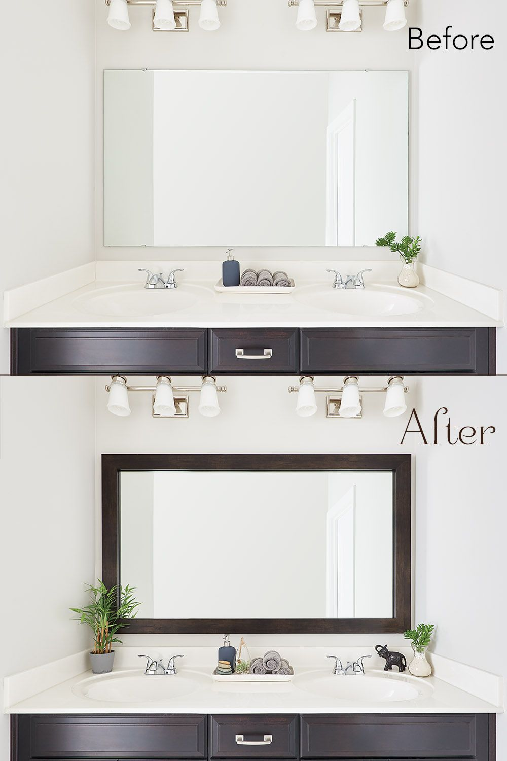 Before After Mirror Makeover Bathroom Inspiration Decor Bathroom Mirrors Diy Fun Bathroom Decor