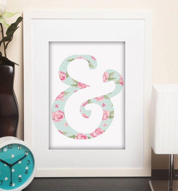 Mint and Pink Shabby Chic Art  Print Printable Art