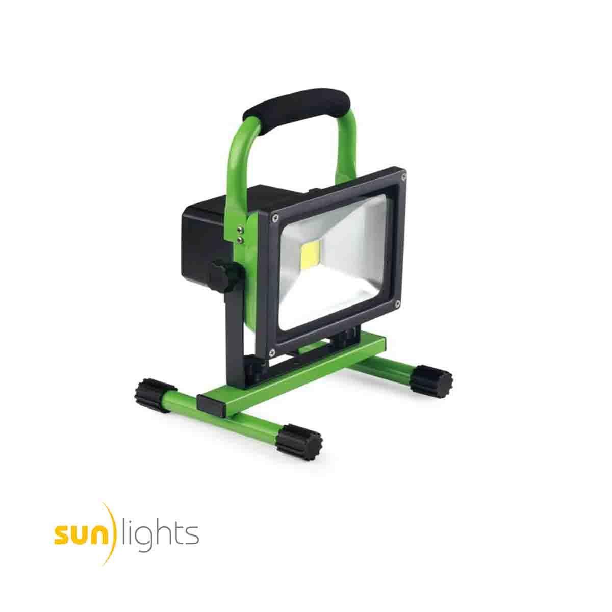 sunlights led akku baustrahler 20w 1800lm stufenlos dimmbar gr n entspricht etwa 150w led. Black Bedroom Furniture Sets. Home Design Ideas
