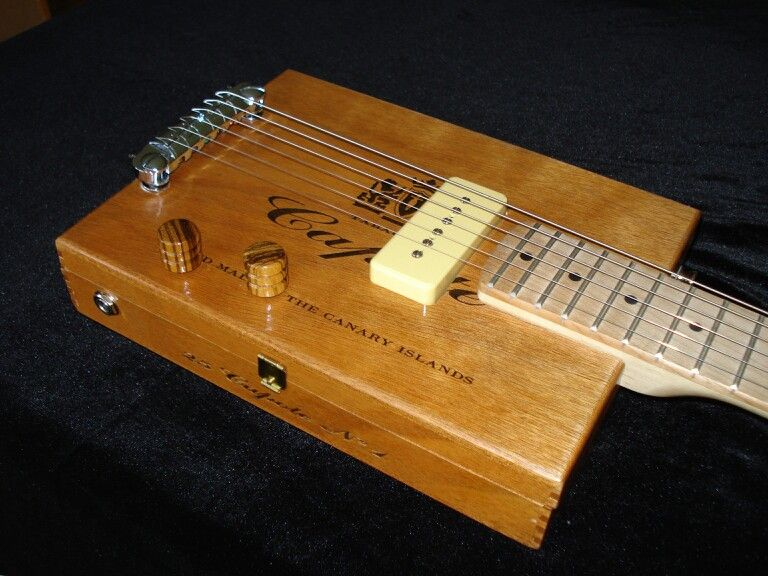 capote 6 string electric with humbucker cigar box guitars box guitar cigar box guitar. Black Bedroom Furniture Sets. Home Design Ideas