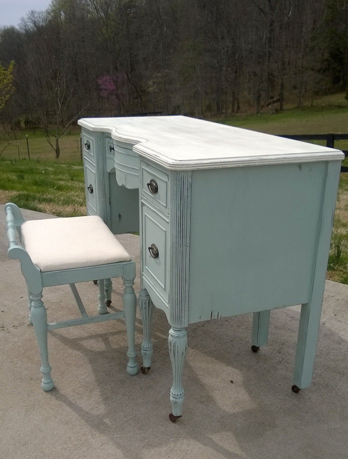 Sold Example Chalk Painted Vanity Desk In Annie Sloan Paint Shabby Chic Distressed Painted Vanity Annie Sloan Paints Vanity Desk