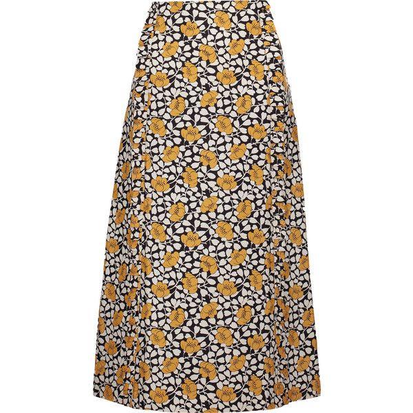 Marni - Printed Cotton And Silk-blend Midi Skirt (1,500 PEN) ❤ liked on Polyvore featuring skirts, multi, marni, frilly skirt, white midi skirt, calf length skirts and white knee length skirt