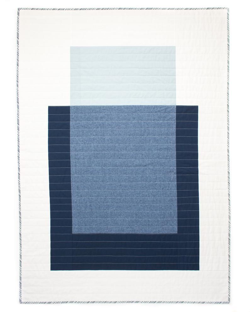 Colour Block Quilt #2 | Modern Quilt | Wallhanging | Patchwork | Cotton-Linen Throw | Blue & White B #modernquiltingdesigns