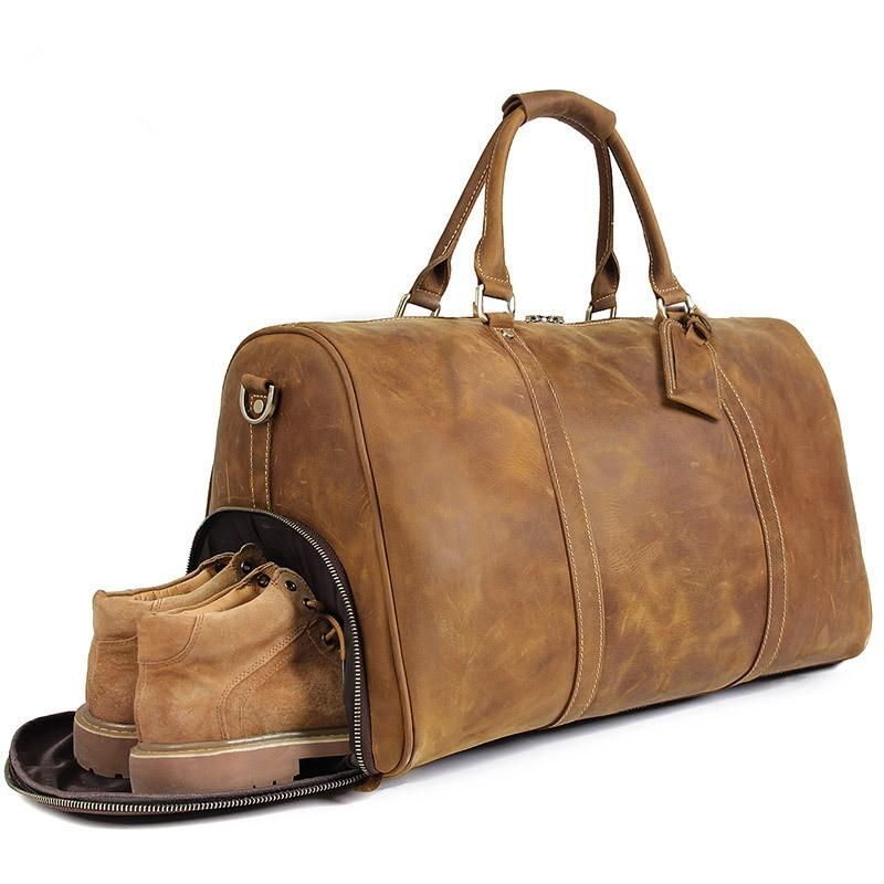 da6c8a60b Handmade Large Vintage Full Grain Leather Duffel Bag Travel Luggage Bag  Duffle bag with Shoes Compartment