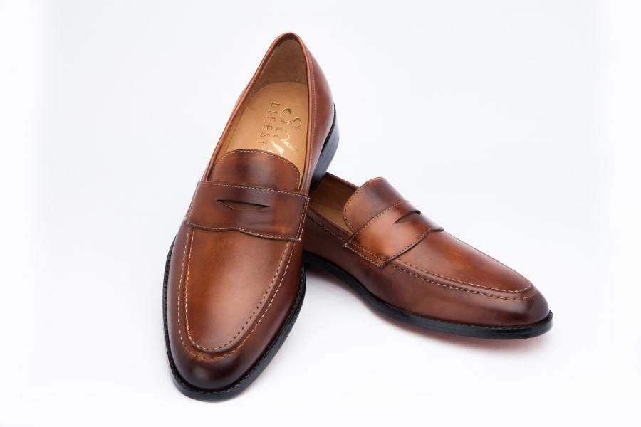 a190e201ff5 Handmade leather Penny Loafer features Argentinean Leather Sole ...