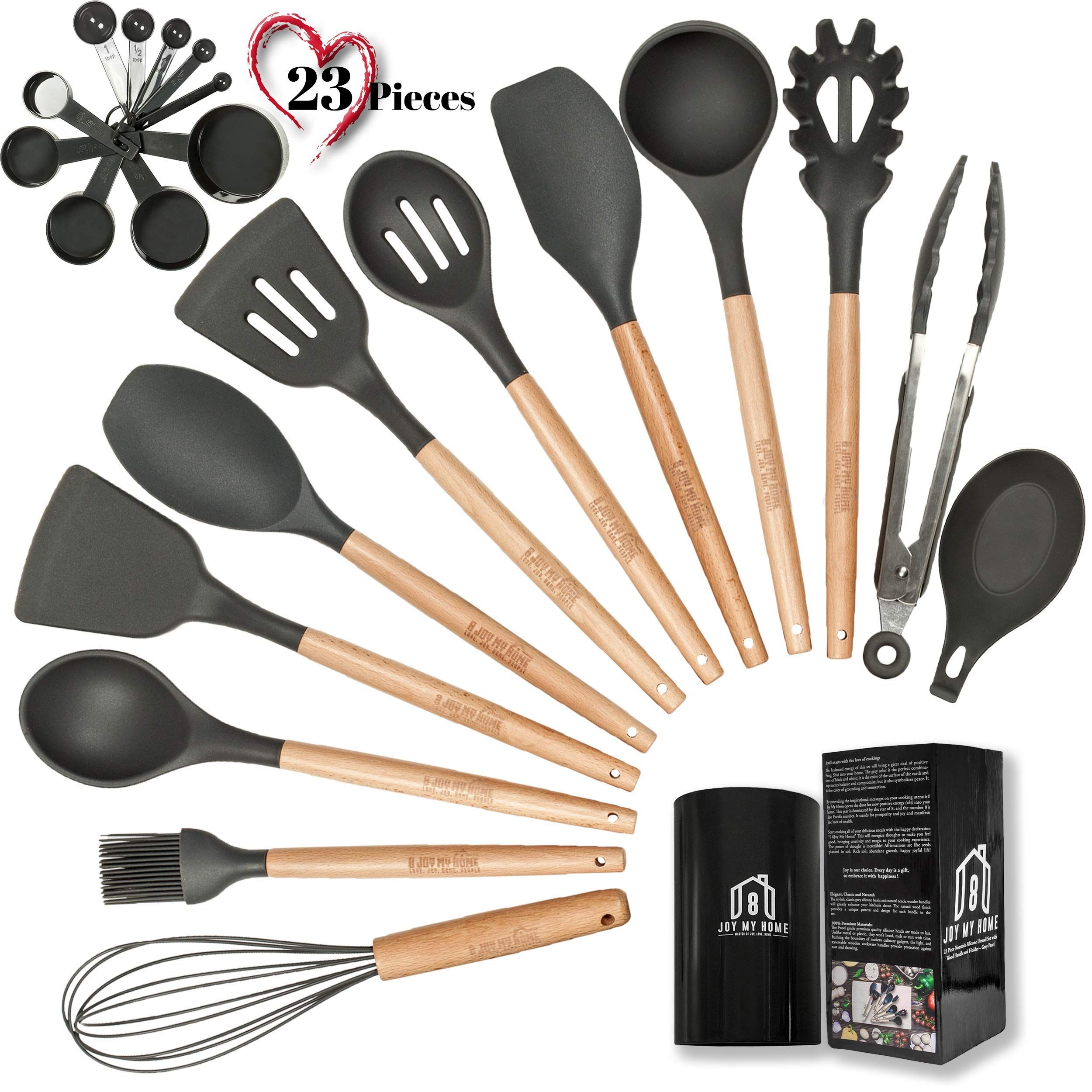 Grey Silicone Cooking Utensils With Wooden Handles 23pcs Silicone