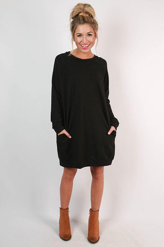 Cozy Jet Setting Sweatshirt Tunic Dress in Black | Fall Favorites ...