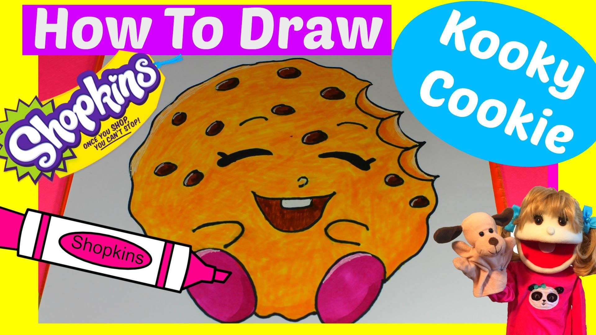 How to draw shopkins kooky cookie step by step easy with jazzy puppet