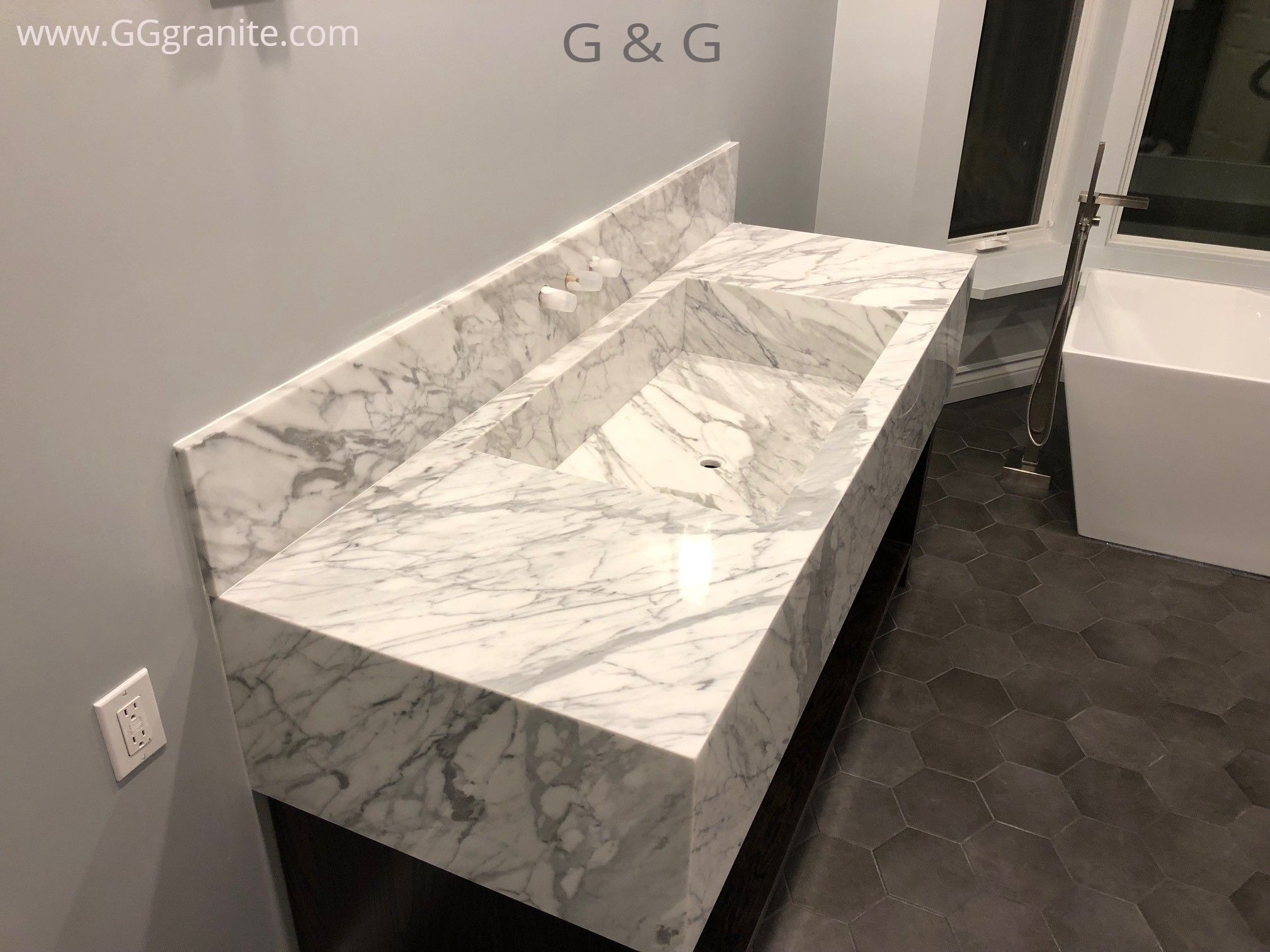 White Marble Bathroom Vanity With Custom Integrated Sink Makes