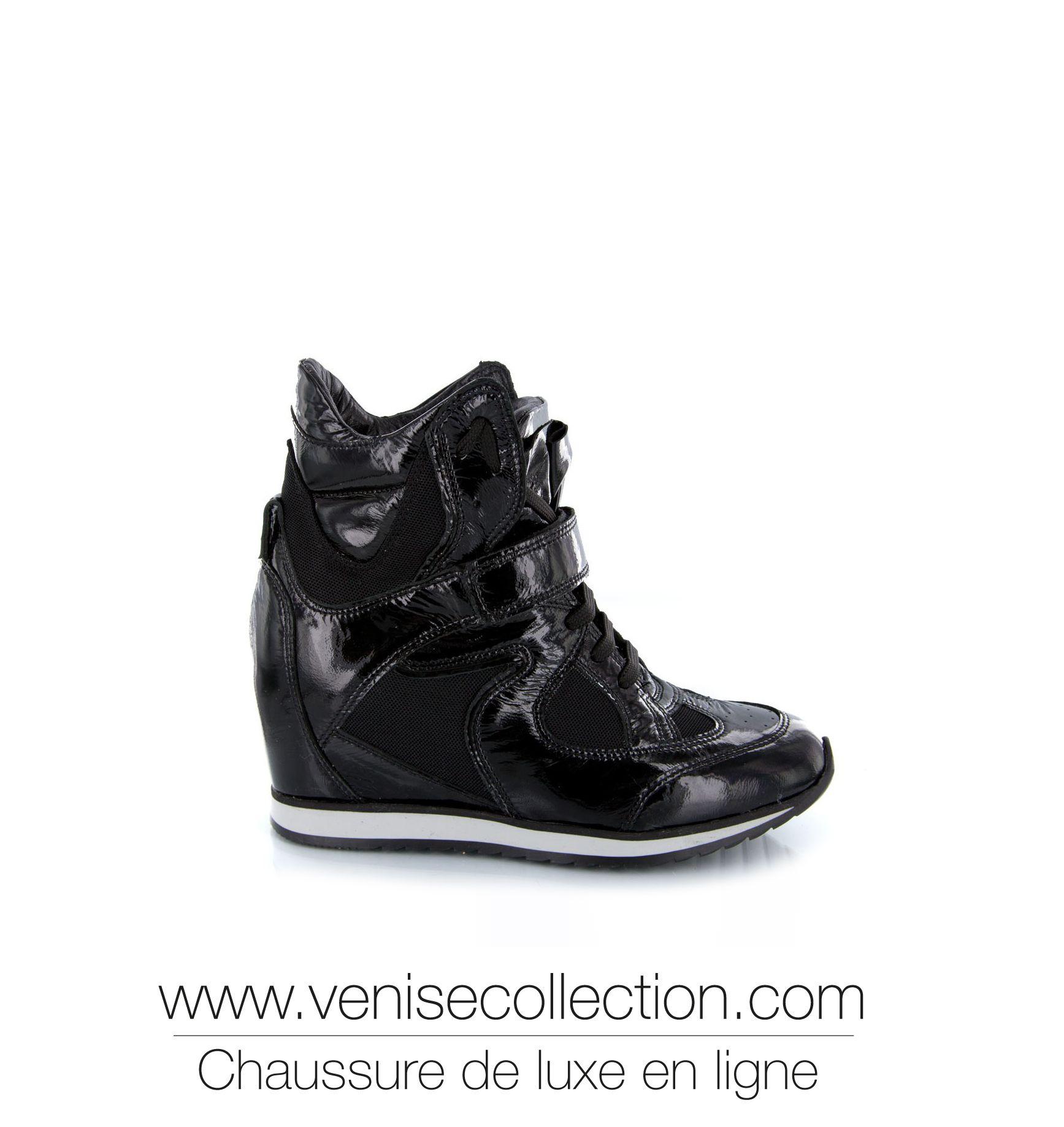 buy online 976f7 02d11 Baskets Compensées, Baskets De Luxe, Vernis Noir, Cuir Verni, Femme Luxe,