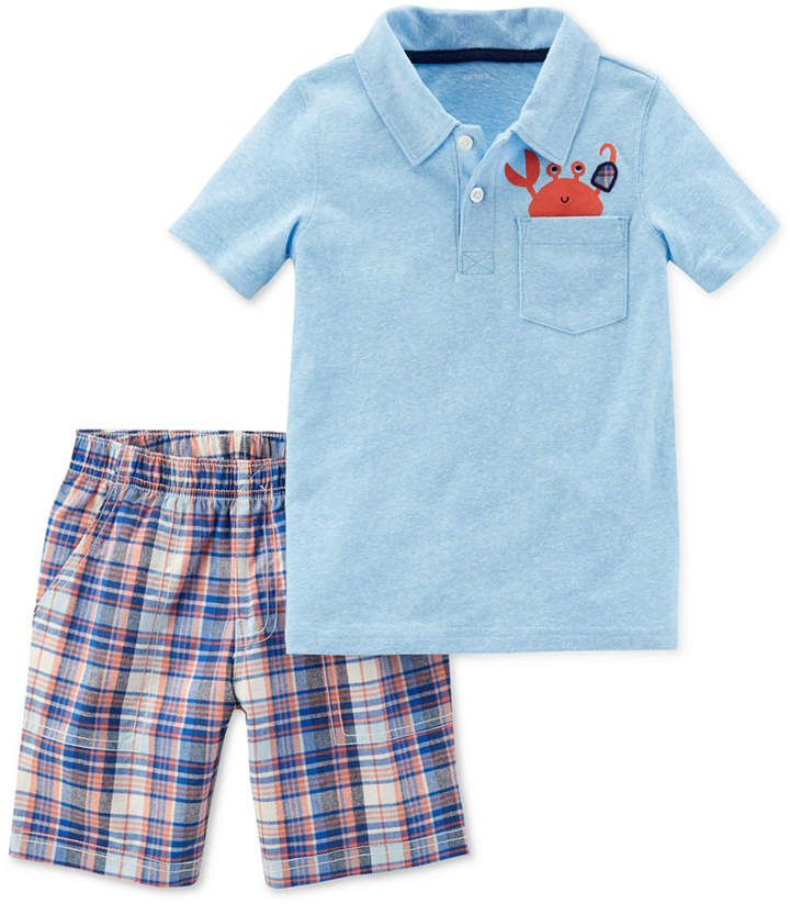 Boys Blue Gingham Crab Short Set
