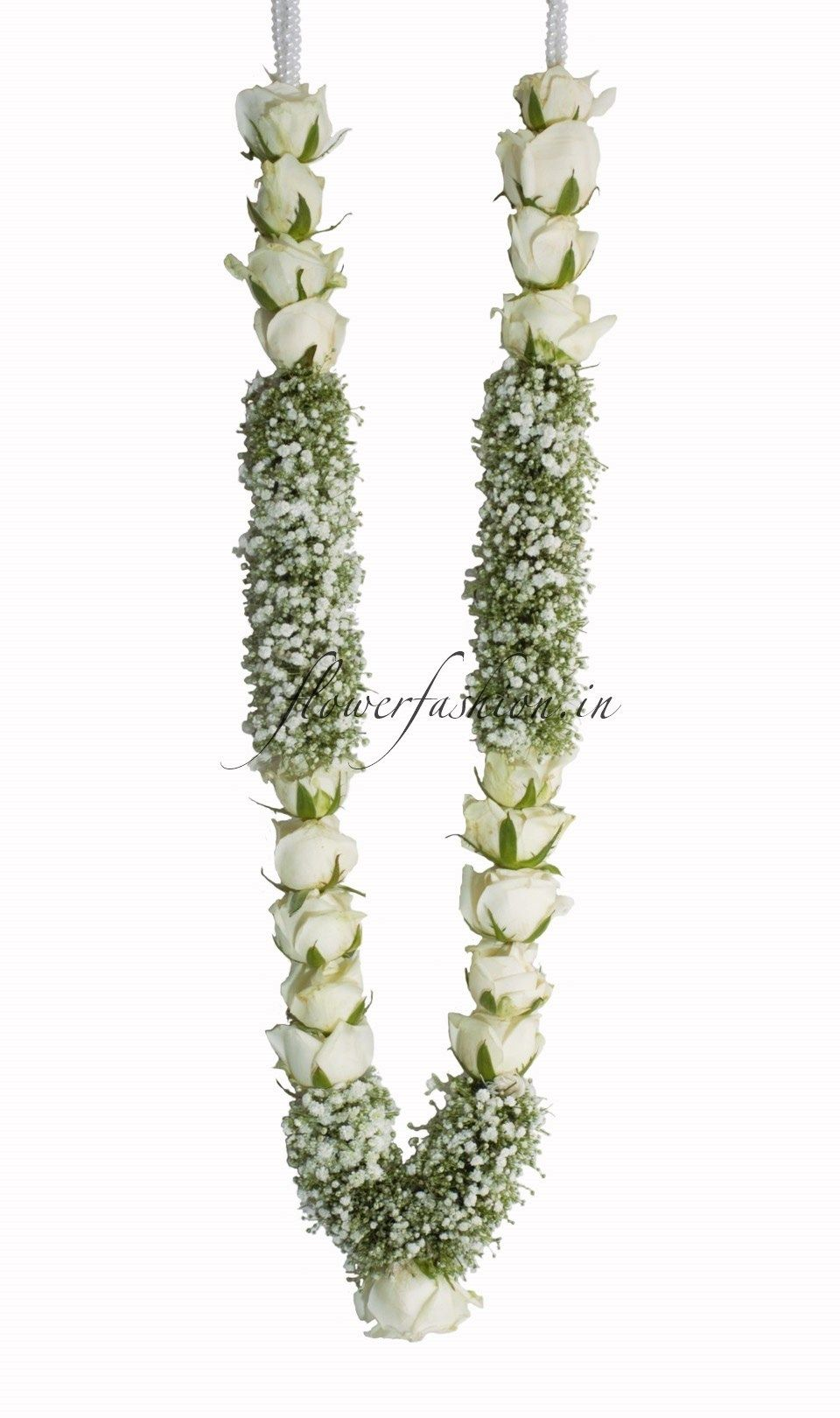 Available Online Designer White Rose And Baby S Breath Flower Garland Flower Fashion In 2020 Indian Wedding Flowers Flower Garland Wedding Indian Wedding Garland