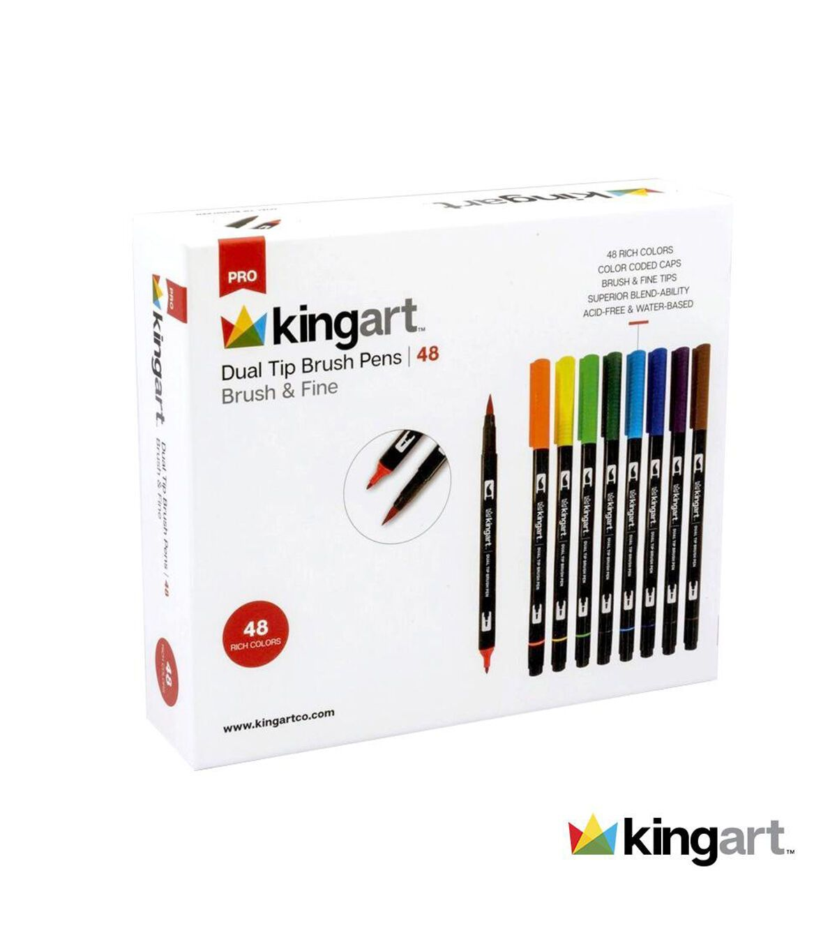 Kingart Dual Tip Brush Pen Art Markers Set Of 48 Unique Colors In