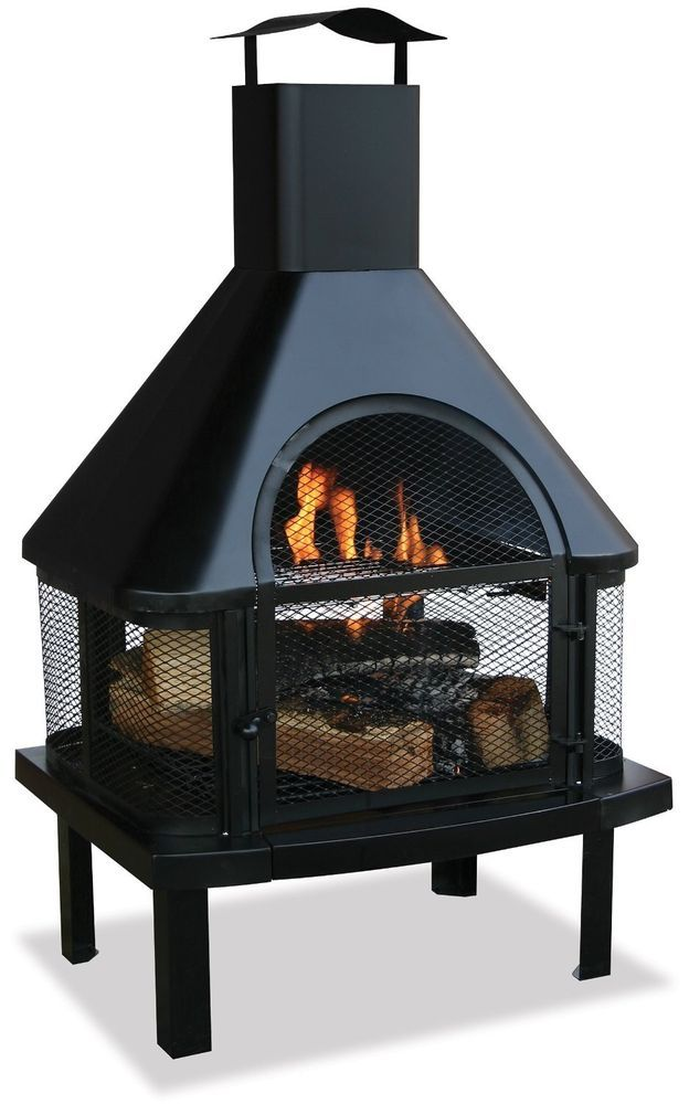 Patio Fire Pit Chimney Outdoor Firehouse Wood Burning Fireplace