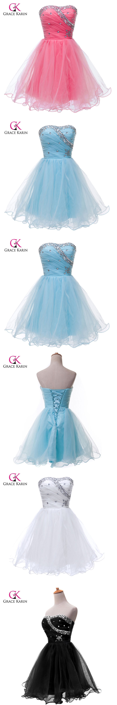 Short Prom Dresses 2017 Grace Karin Volie Blue White Pink Beaded ...