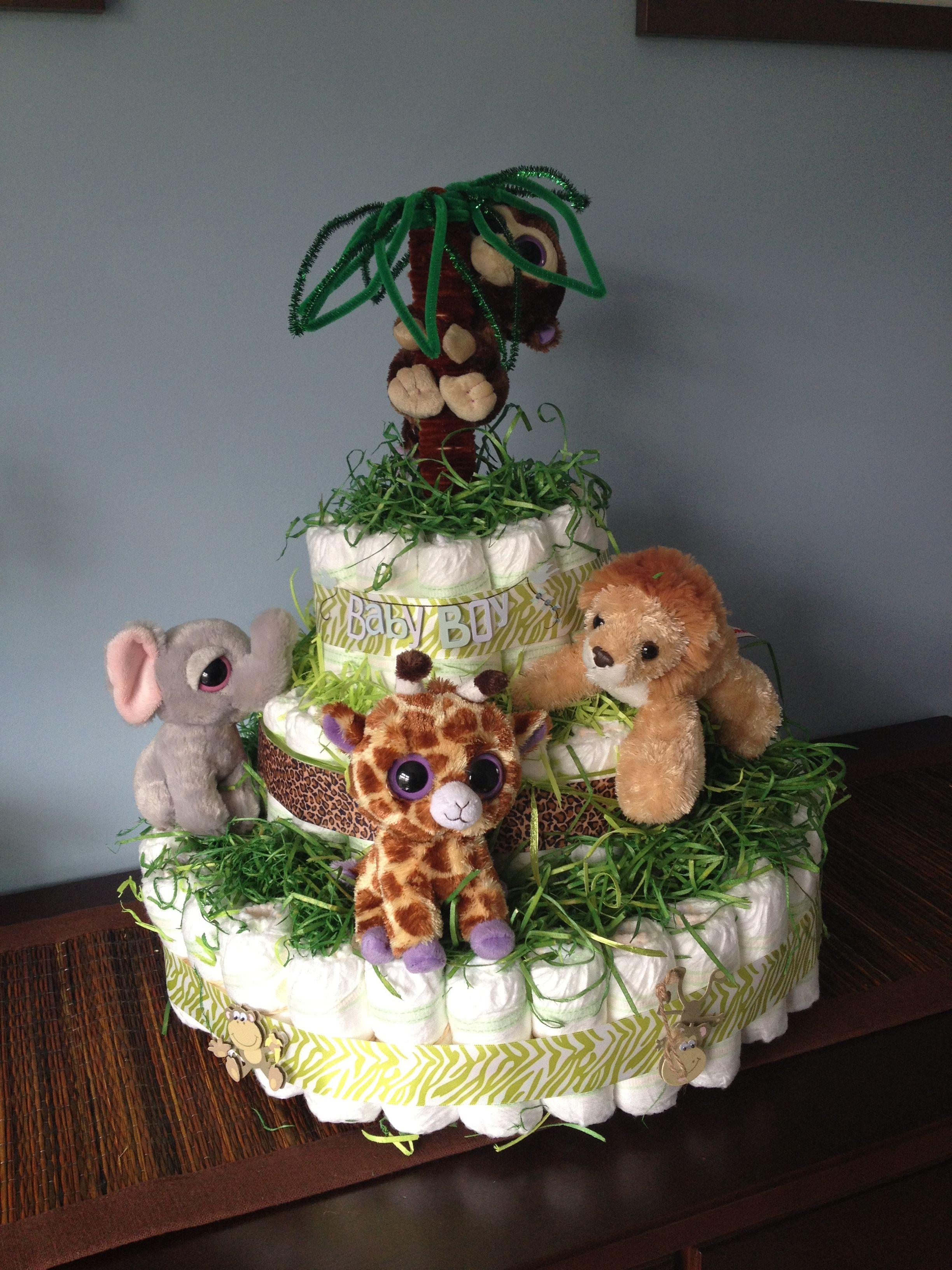 Safari Diaper Cake Safari Diaper Cakesbaby Showersdiapersshower