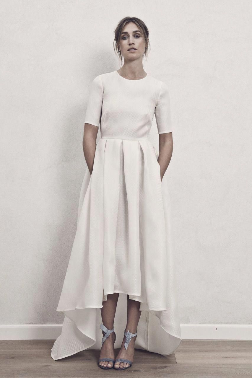 High low wedding dress with sleeves  Highlow Nordic chic and cool wedding dress with pockets Carrie