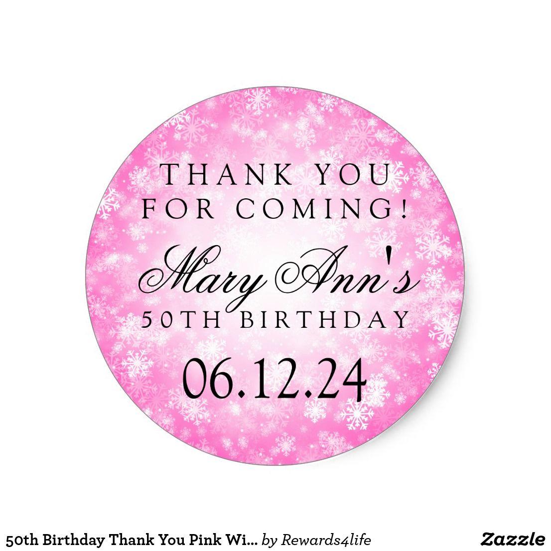 50th Birthday Thank You Pink Winter Wonderland Classic