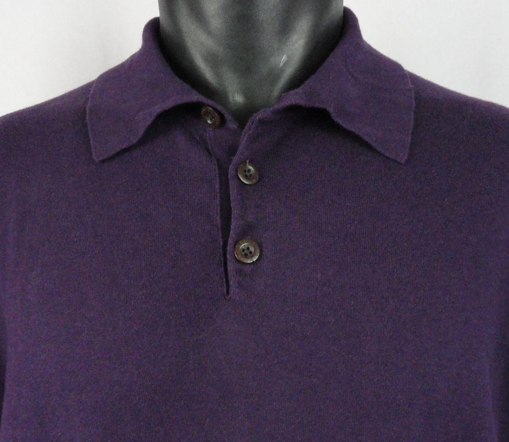 Orvis Mens L Cotton Silk Cashmere Polo Sweater Purple LS 3 Buttons ...