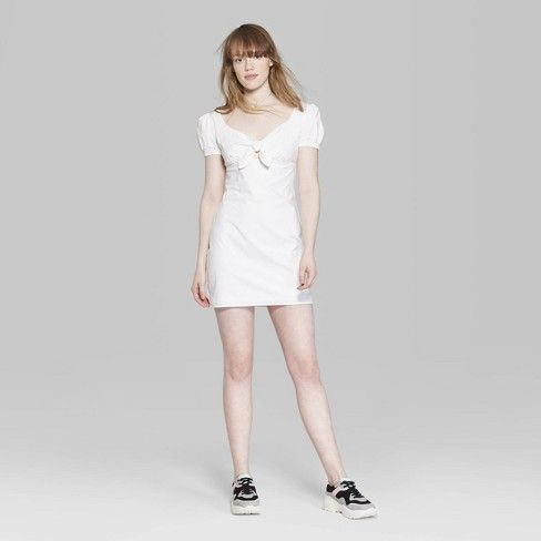 8f5a74c800cbf Women s Short Sleeve Square Neck Tie Front Dress - Wild Fable™ White    Target