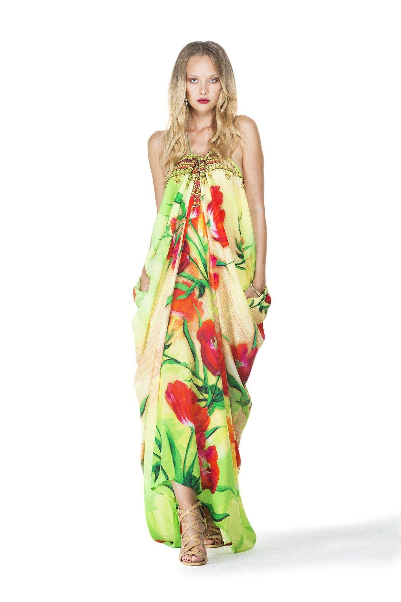 Designer maxi caftan dresses cute floral clothing in