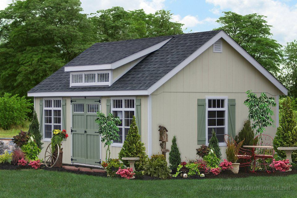 garden shed with slant roof with transom window