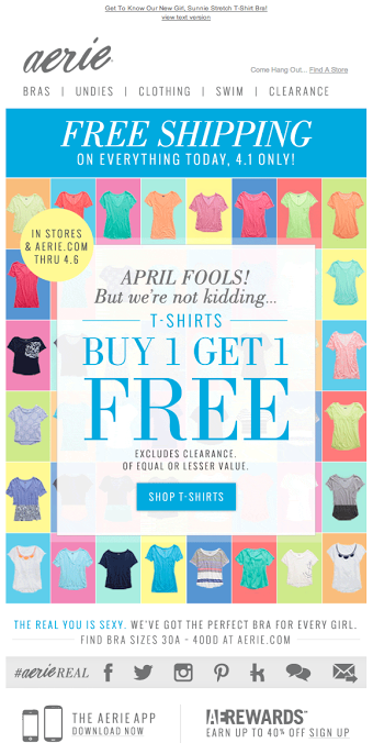 Aerie's April Fool's Day email 2014  #emaildesign #emailcontent #emailmarketing
