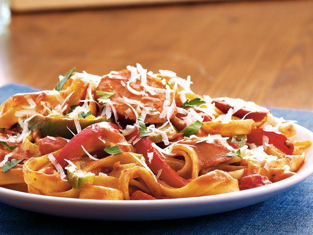 Cajun Pasta with Smoked Sausage.  A Betty Crocker recipe, requires signing up with the Betty Crocker site.