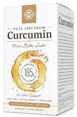 Solgar Full Spectrum Curcumin herbal supplement contains 40 mg of curcumin in one softgel serving.  Buy it now at Vitamin World!
