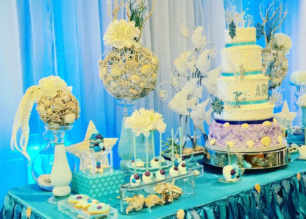 dessert table at an under the sea Quinceañera