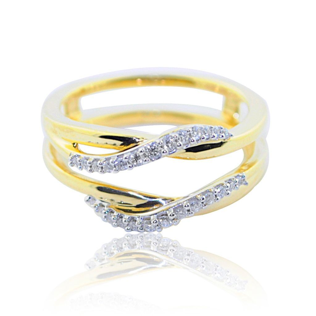 10K Yellow Gold Ring Jacket 1/16cttw Diamonds 8mm Wide Solitaire Guard Women's