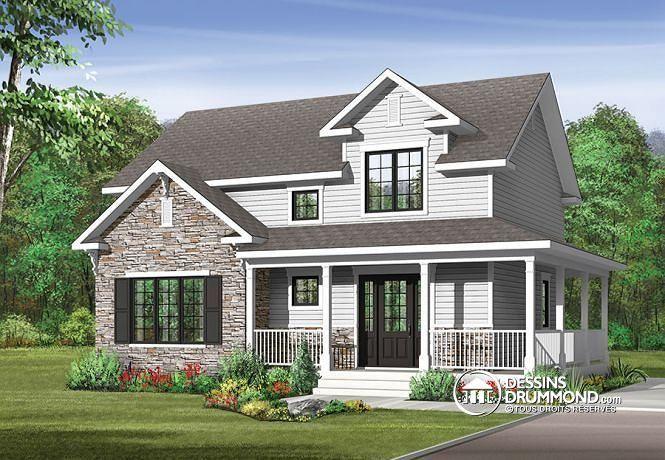 W3721 plan de maison style transitionnel grand vestibule buanderie grand - Maison style cottage ...