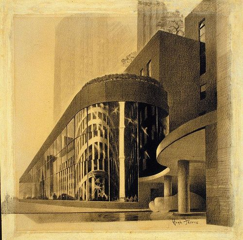 Drawing by Hugh Ferriss from the Avery Collection  nyda.1000.001.00354.jpeg by Kosmograd, via Flickr