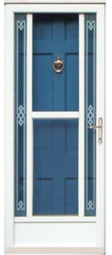 chamberdoor astra 36 x 80 nickel hardware white midview storm screen door reversible swing. Black Bedroom Furniture Sets. Home Design Ideas