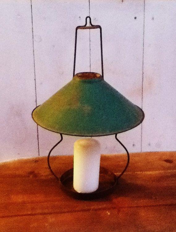 Hanging Lamp Shade Metal Lantern Camping Light By PunchedupPatina