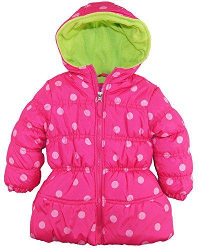 f04028f27 Pink Platinum Little Girls  Toddler Big Polka Dots Hooded Puffer ...