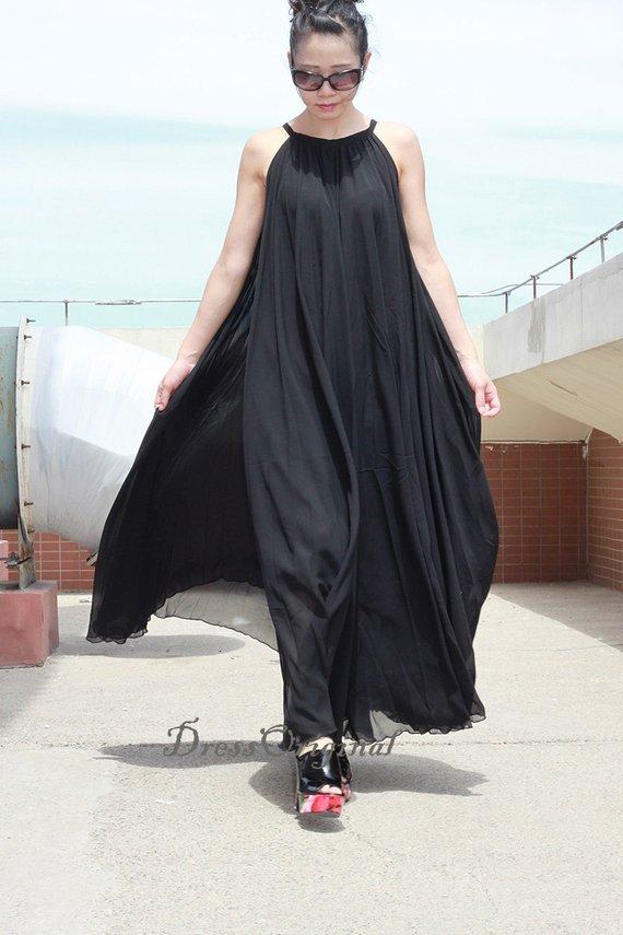 Black Maxi dress, black summer dress, Custom dress, plus ...