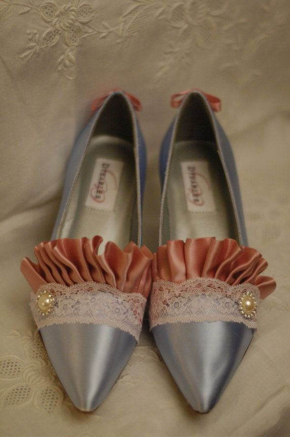 339f360c752c9 Special Size 8 - Marie Antoinette Blue and Ivory Lace Heels | Bags ...