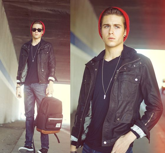 beanie, leather jacket, dark wash jeans, sneaks, v-neck, shades ... 42974ccc55