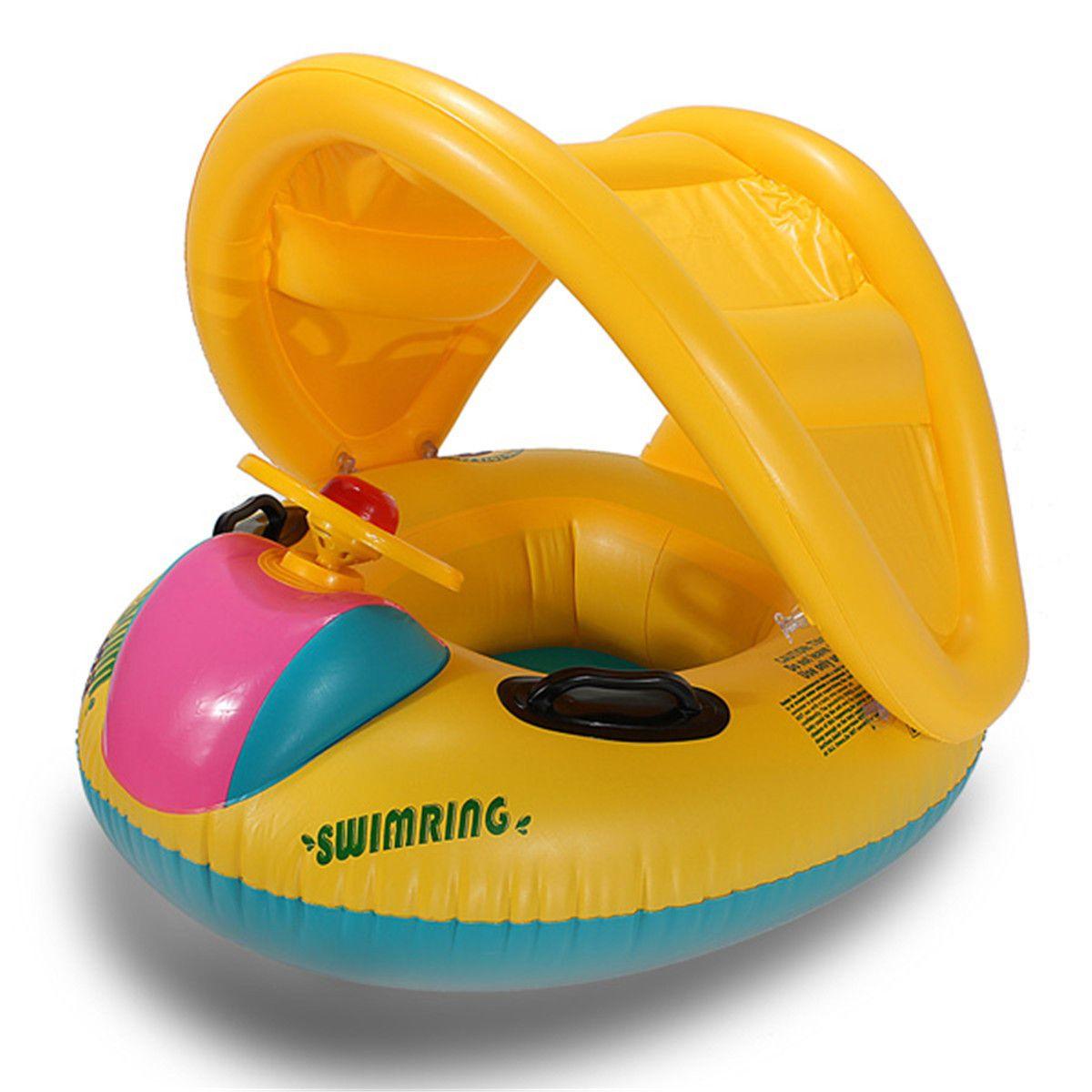 Mother Baby Swim Ring BAMBINI GALLEGGIANTE DI SICUREZZA SEDILE PISCINA parasole gonfiabile