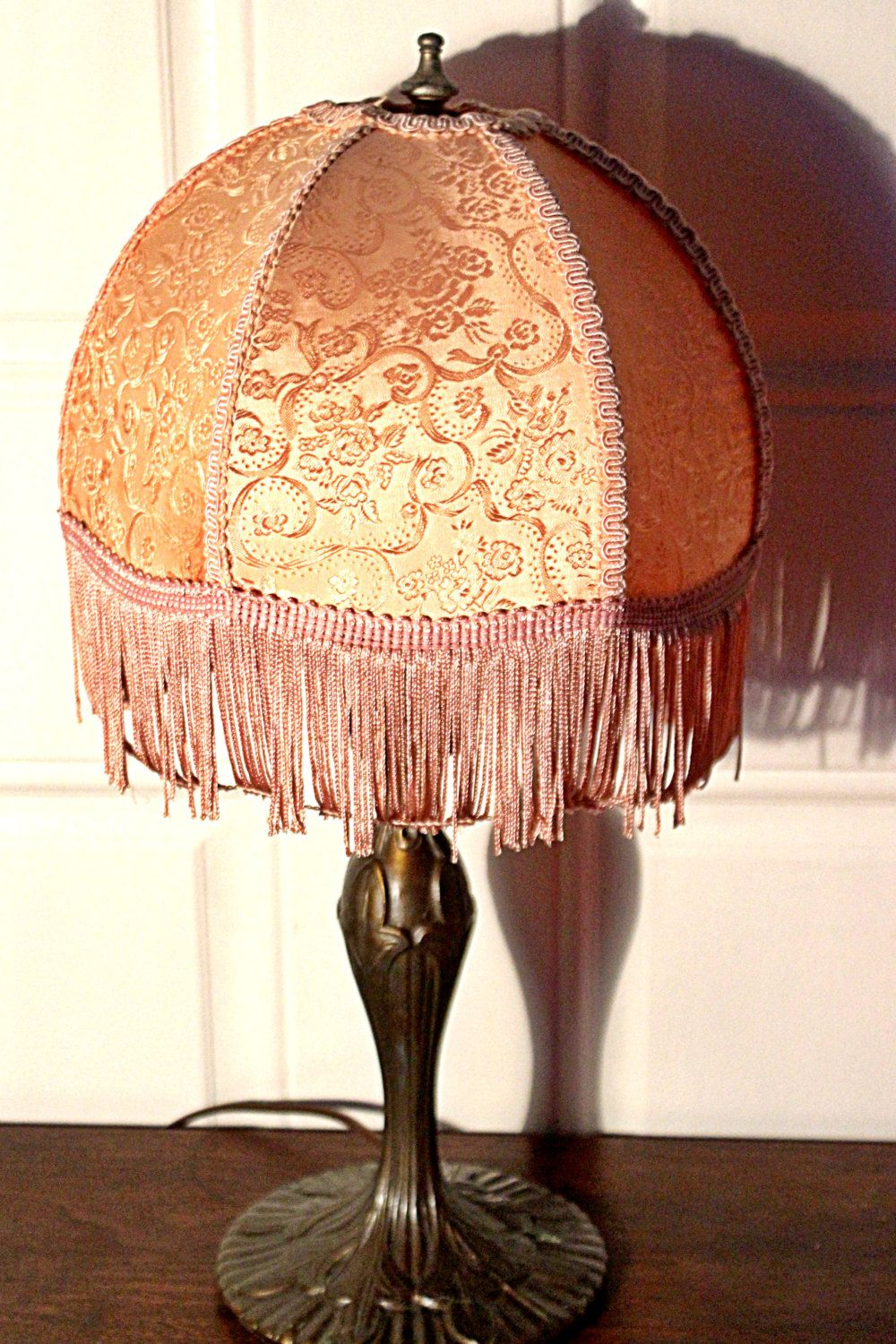 Vintage Pink Fringe Victorian Lamp Shade On Cast Br Beautiful Boho Gorgeous Works Perfectly Uses 60 Watt Standard Bulb By