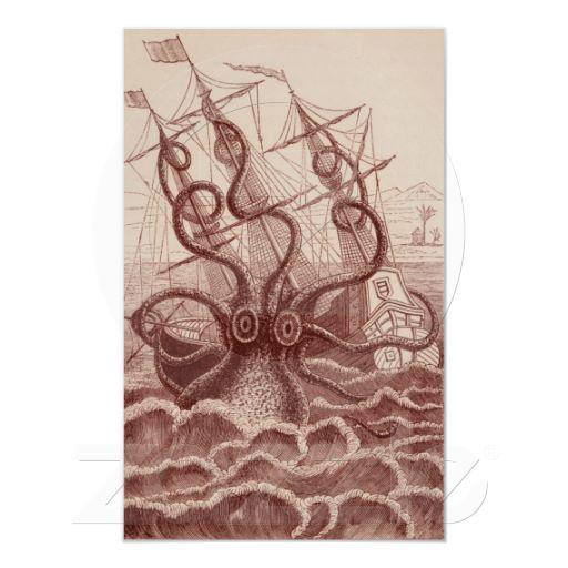 Ship vs. Octopus items @ Zazzle