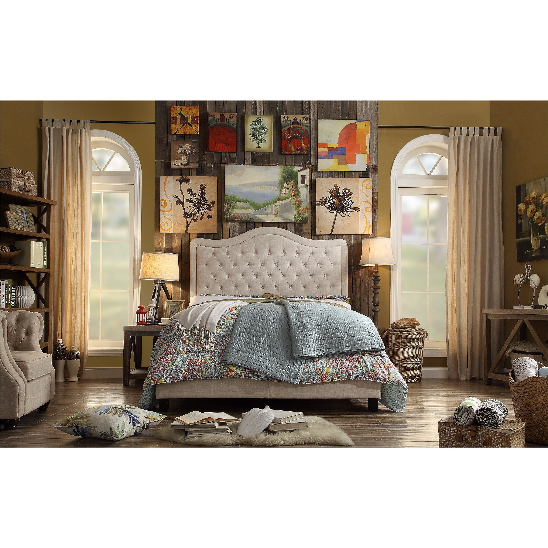 Adella Linen Tufted Upholstered King Size Bed Frame | Dulce hogar ...
