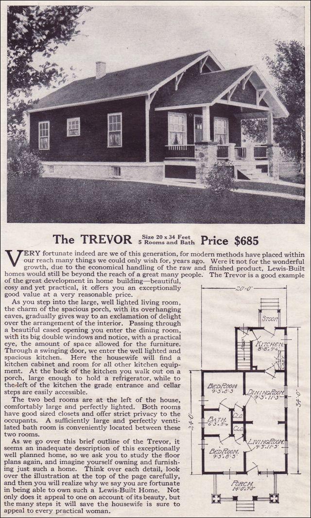 the trevor lewis manufacturing 1916 bungalow style kit homes vintage house plans 1910s. Black Bedroom Furniture Sets. Home Design Ideas