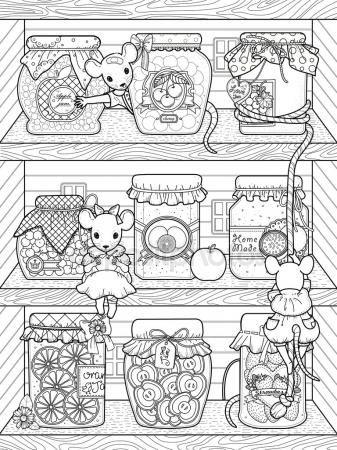 Descargar - Adorables ratones página para colorear — Ilustración de ...