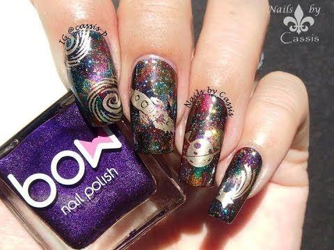 Galaxy Nail Using Magnetic Polish & hēhē Stamping Plate - Nails by Cassis…